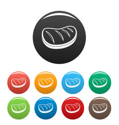 cooked steak icons set color vector image