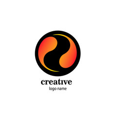 Creative circle logo fireball design vector