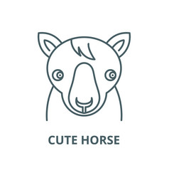 cute horse line icon cute horse outline vector image