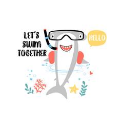 Cute shark for t-shirt design vector