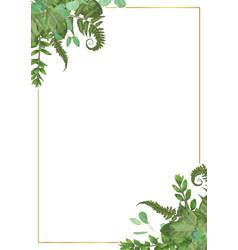 Decorative golden rectangular frame with vector