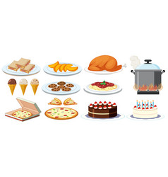 different kinds of food on plates vector image