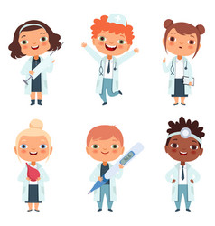 doctor profession children in different poses vector image