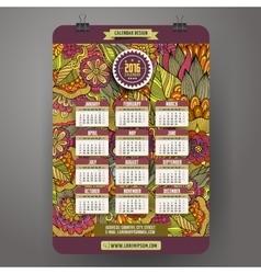 Doodles cartoon floral Calendar 2016 year vector