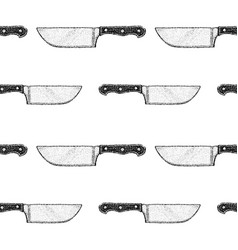 dotwork kitchen knife seamless pattern vector image
