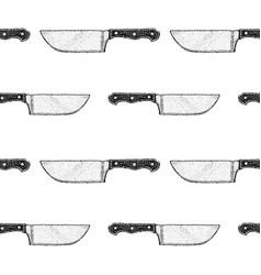 Dotwork kitchen knife seamless pattern vector
