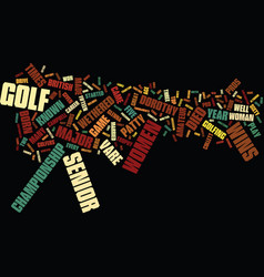 Five top female senior golf pros text background vector