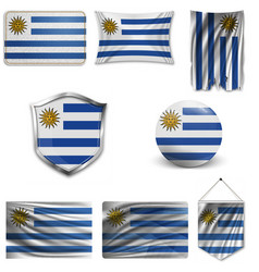 Flag uruguay accurate dimensions elements vector