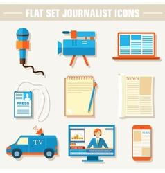 Flat set equipment for journalism background vector