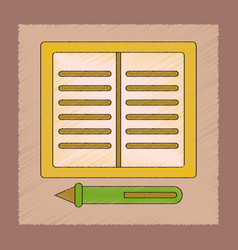Flat shading style icon notebook and pen vector