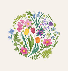 Floral round composition vector