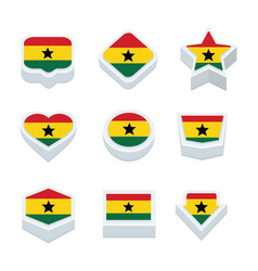 ghana flags icons and button set nine styles vector image
