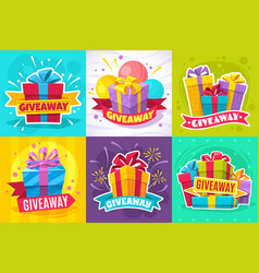 giveaway post give away gift announcement winner vector image