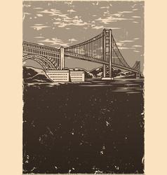 golden gate bridge in san francisco poster vector image
