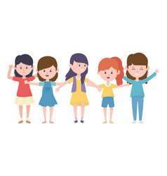 happy group women cartoon characters design vector image