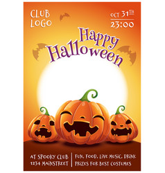 Happy halloween editable poster with smiling vector
