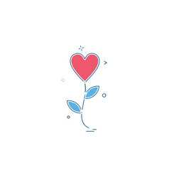 heart flower icon design vector image