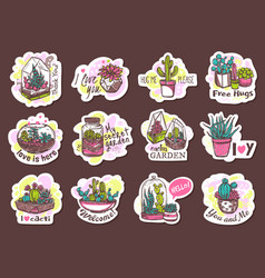 houseplants cute hand drawn stickers set vector image