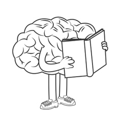 Human brain holding book icon vector