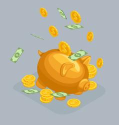 isometric bank deposit concept golden pig vector image