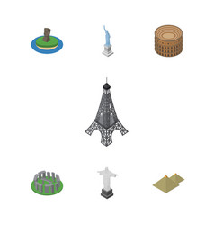 isometric cities set of england chile coliseum vector image