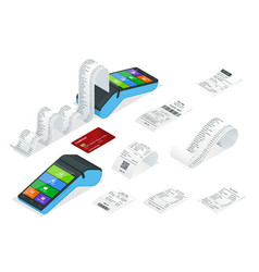 isometric set payment machine or pos terminal vector image