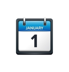 January 1 calendar icon flat vector