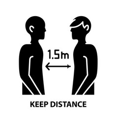 Keep distance icon black sign with vector