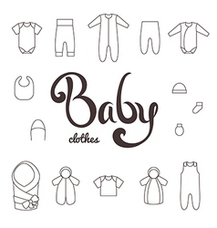 Lettering with icons clothes newborn vector