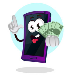 mobile phone emoji holding money on white vector image