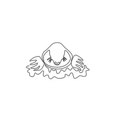 One continuous line drawing cute lawn mole vector