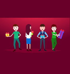 people holding gift boxes happy new year merry vector image