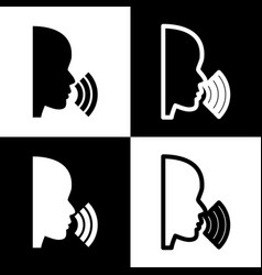 people speaking or singing sign black and vector image