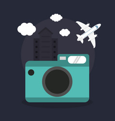 Photo camera airplane vacations vector