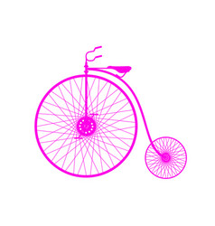 Pink silhouette of vintage bicycle vector