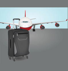 Plane with suit case vector