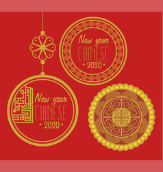 Poster happy new year chinese 2020 with decoration vector