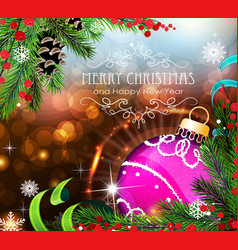 purple christmas ball with sparkles and fir vector image