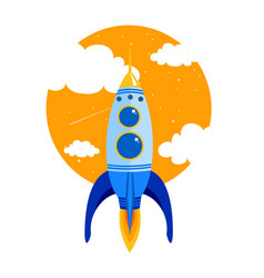 rocket quick flies in sky vector image