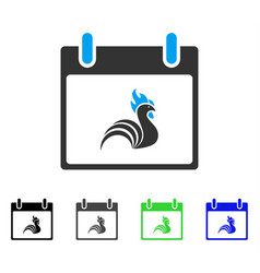 Rooster calendar day flat icon vector