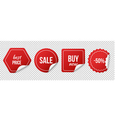 sale tags red sale stickers christmas discount vector image