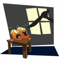 scared pumpkins vector image