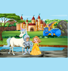Scene with knight and princess palace vector