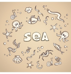 Sea life elements vector