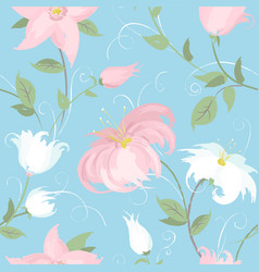 seamless blue background with spring vector image