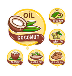 seed oil logos set natural product emblem vector image