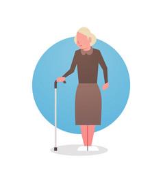 Senior woman with stick grandmother gray hair vector