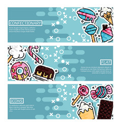 set horizontal banners about confectionary vector image