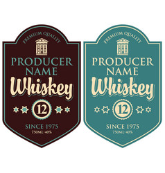 set labels for whiskey in retro style vector image