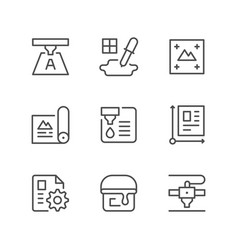 set line icons of print vector image